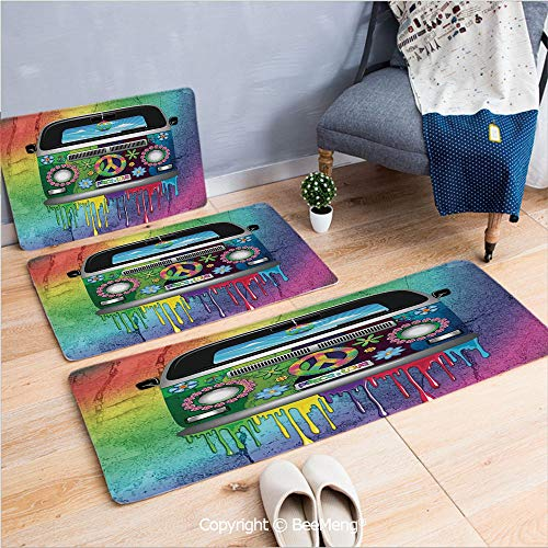 3 Piece Water Uptake Indoor Modern Anti-Skid Cartoon Carpet,Groovy Decorations,Old Style Hippie Van with Dripping Rainbow Paint Mid 60s Youth Revolution Movement Theme,Multi,16x24/16x39/18x45 inch