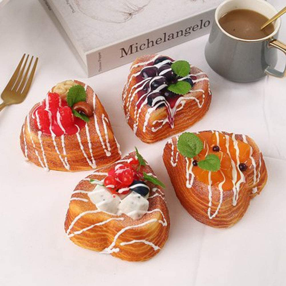 4 Pcs Simulation Model Fake Cake Mousse Fruit Bakery Photography Props Decor Artificial Food Bread Pie Dessert, Safety and Environmental Protection Pu Material, Real Looking