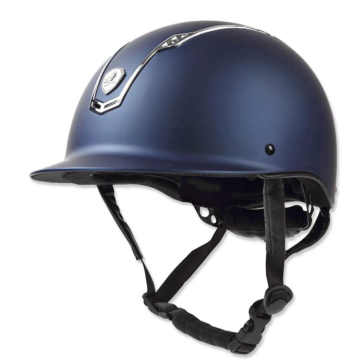 乗馬 ヘルメット プロテクター 乗馬帽 帽子 EQULIBERTA ソリッド ダイヤル調整ヘルメット 乗馬用品 馬具 Large ディープネイビー/メタルシルバー B07MPV47RK