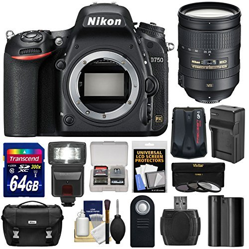 Nikon D750 Digital SLR Camera Body with 28-300mm VR Lens Kit, Battery and Accessories (14 Items)