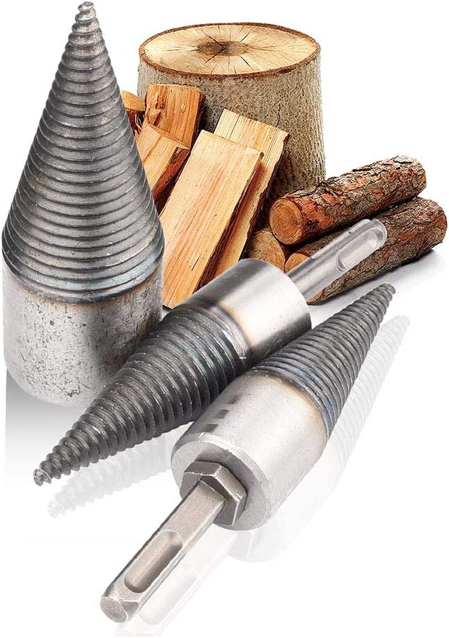hex+Square+Round Firewood Log Splitter Wood Splitter Drill,Heavy Duty Drill Screw Cone Driver,Portable Wood Cut Tool for Hand Drill Stick 3pcs//Set