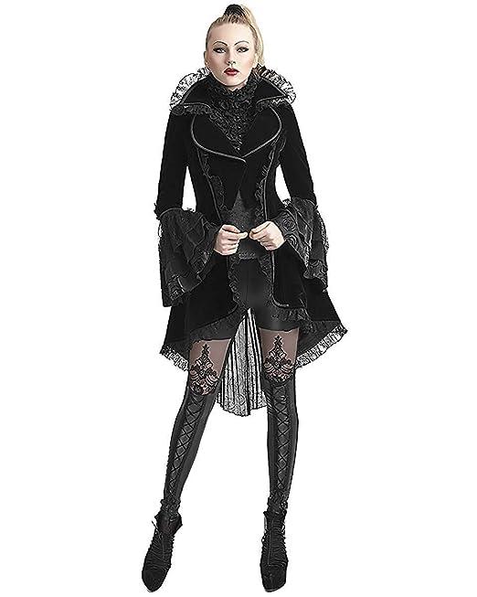 Punk Rave Chaqueta FRAC para Mujer Terciopelo Negro gótico ...
