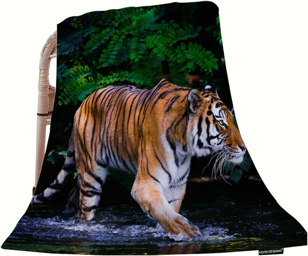 "HGOD DESIGNS Tiger Throw Blanket,Nature Wild Animal Tiger in Water Soft Warm Decorative Throw Blankets for Adults Kids Women Men Girls Boys,40""x50"""