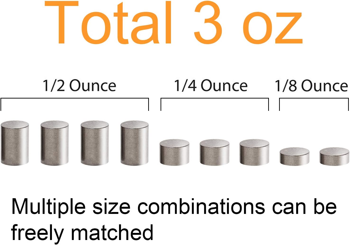 Ruisita 3 Ounce Pinewood Derby Weights Tungsten Pinewood Derby Car Weights Cylinders Weights in 3 Sizes 3 Ounces