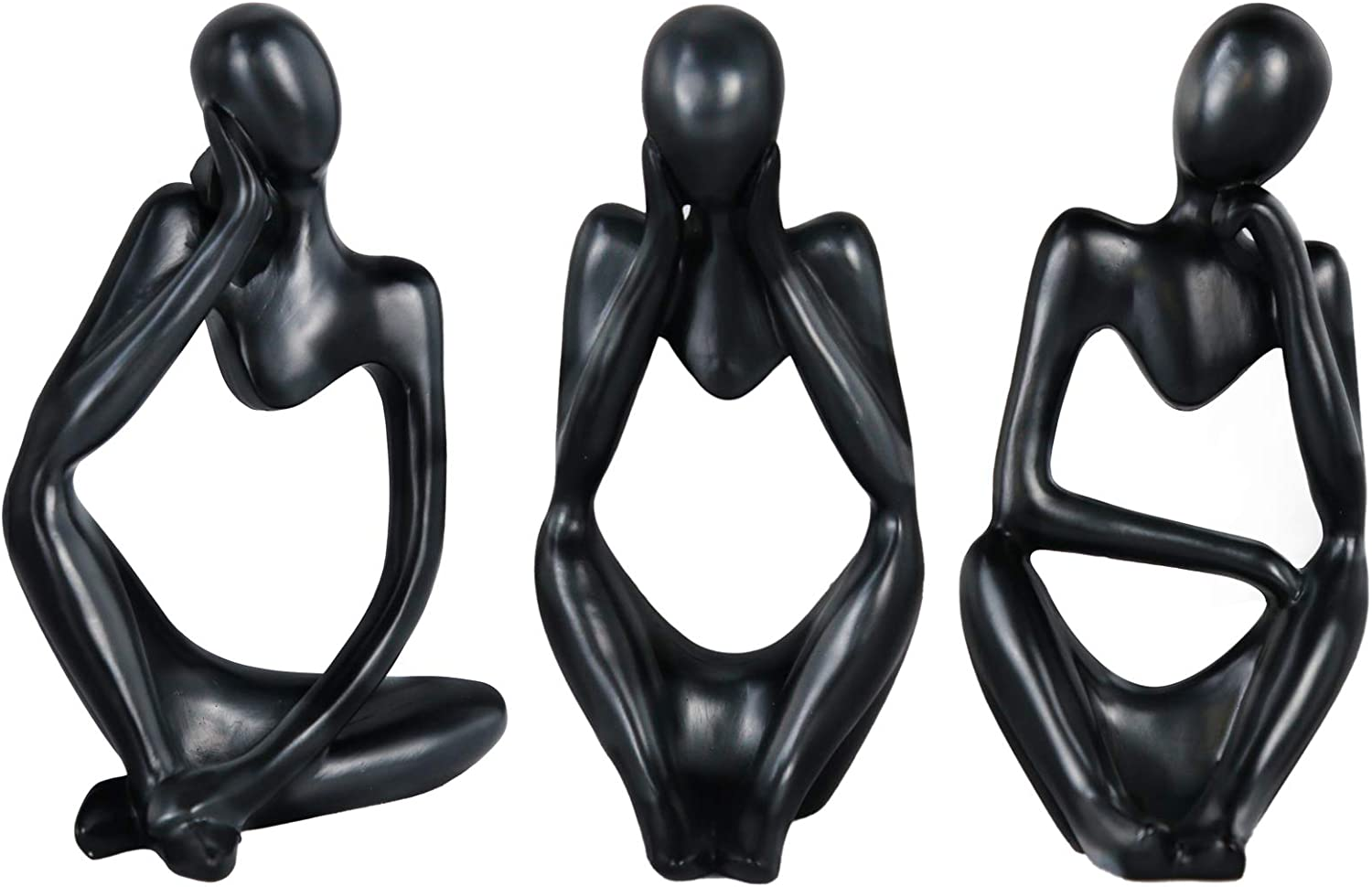 Lzttyee The Thinker Statue Set Mini Abstract Resin Thinker Statue for Modern Home Office Decor 3Pcs (Black)