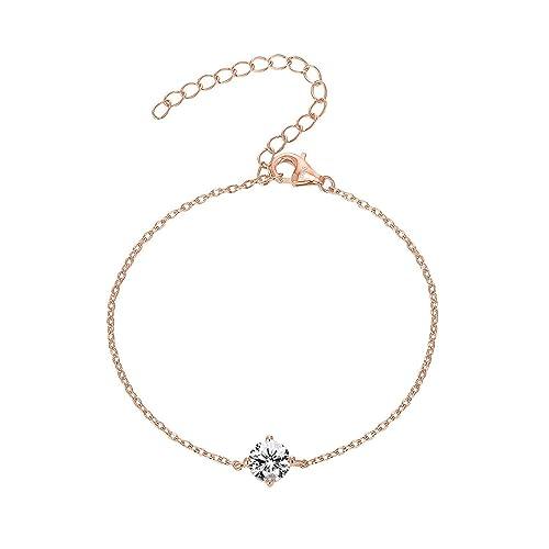 a6c1d50bb8 PAVOI 14K Gold Plated 925 Sterling Silver Cubic Zirconia Solitaire Diamond  Bracelet | Bridesmaid Bracelets