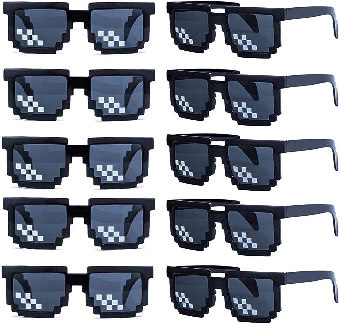 kilofly 10pc 8-Bit Pixel UV Protect Gamer Sunglasses Adult Kids Party Favors