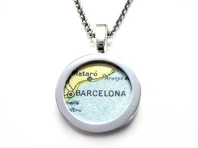 Amazon.com: Barcelona Map Pendant Necklace: Jewelry