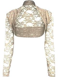 8968aa8ba81 krautwear Damen Bolero Langarm Stola Bolerojacke Hochzeit Festlich Spitze  schwarz weiß rot beige blau pink