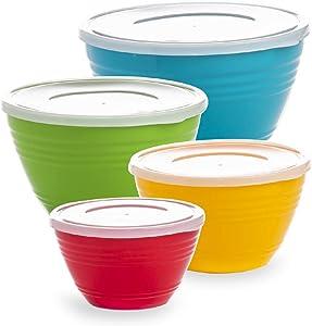BINO Plastic Mixing Bowls with Lids Set - Plastic Mixing Bowl Set Prep Bowls for Kitchen