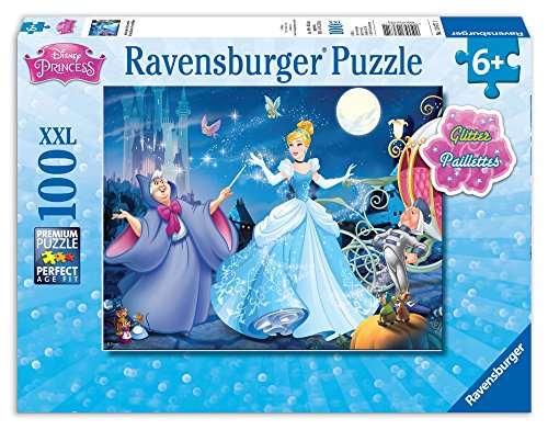 Ravensburger Disney Princess Adorable Cinderella 100 Piece Glitter Jigsaw Puzzle for Kids – Every Piece is Unique, Pieces Fit Together ()