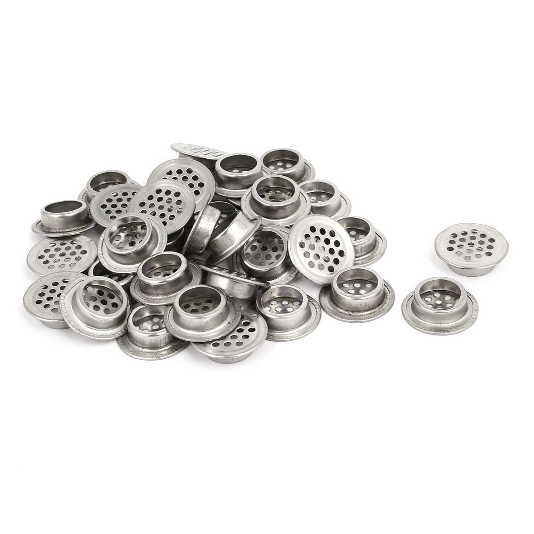 uxcell 19mm Bottom Dia Stainless Steel Round Shaped Mesh Hole Air Vent Louver 35pcs