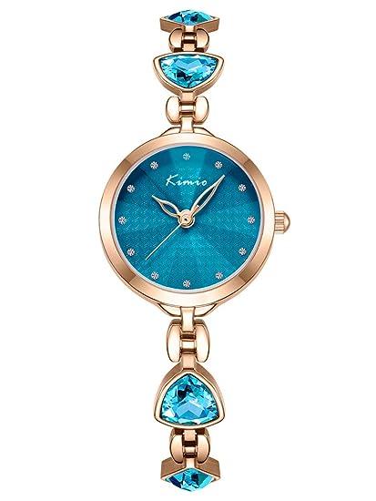 Alienwork Reloj Mujer Relojes Acero Inoxidable Oro Rosa Analógicos Cuarzo Turquesa Impermeable Strass Elegante