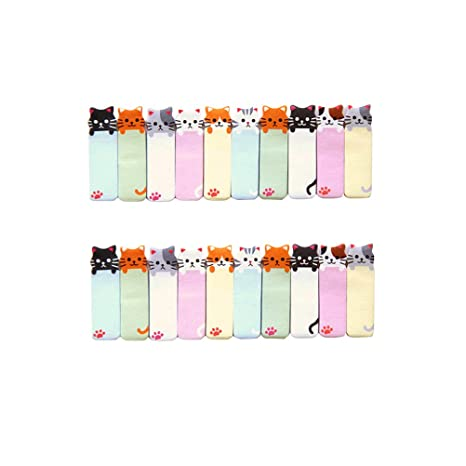 Nuolux - Marcapáginas adhesivos de papel, con forma de gato ...