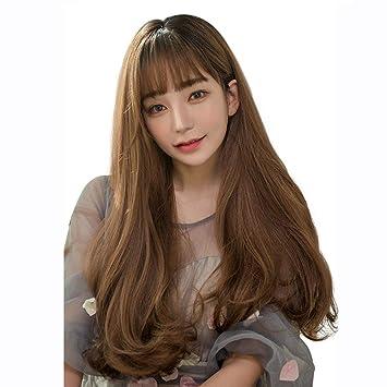 Damen Perücke Karamell Farbe Flauschige Lange Lockige Haare Nette