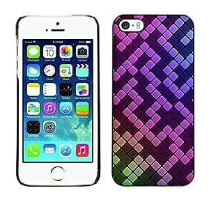 Cubierta de la caja de protección la piel dura para el Apple iPhone 5 / 5S - Pink Purple Mosaic Pattern