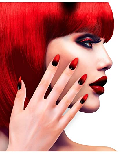 Horror-Shop Uñas Stileto Negro / Rojo 12 Unid.: Amazon.es ...