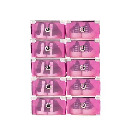 Vinteky® 10x Cajas Almacenaje Plegable de plástico Cajón Organizador Transparente envase de la Caja para