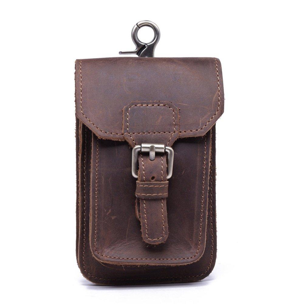 Bolso llavero de piel GJB33 para hombre, diseño de caballo de Crazy, retro, con clip, para meter las llaves, las tarjetas, riñonera ZhuoLang