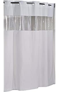 Hookless HBH08VIS01 Vision Shower Curtain White With Clear Top 71