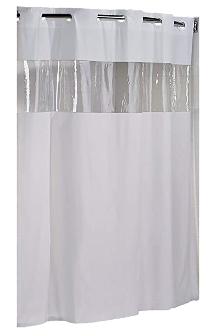 Amazoncom Hookless Hbh08vis01 Vision Shower Curtain White With