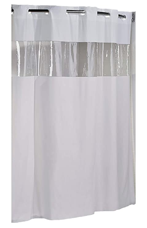 Hookless Clear Shower Curtain.Hookless Hbh08vis01 Vision Shower Curtain White With Clear Top 71 X 74