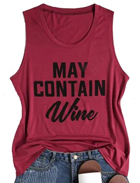 303f1ff46dccf DUTUT Women May Contain Wine Letters Print Sleeveless Tank Tops Casual T-Shirt  Tees Size