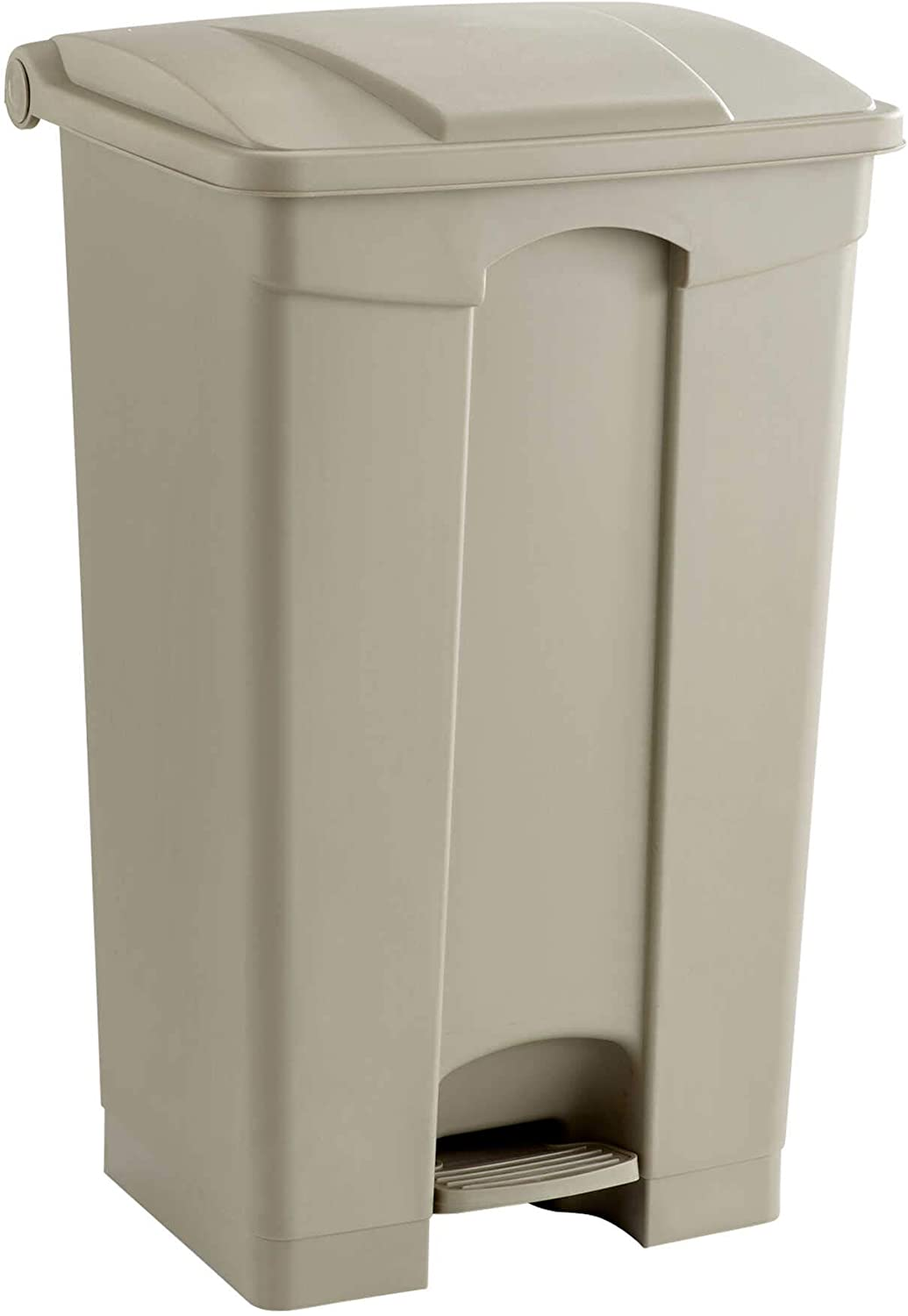 Safco Products Plastic Step-On Trash Can 9923TN, Tan, Hands-free Disposal, 23-Gallon Capacity