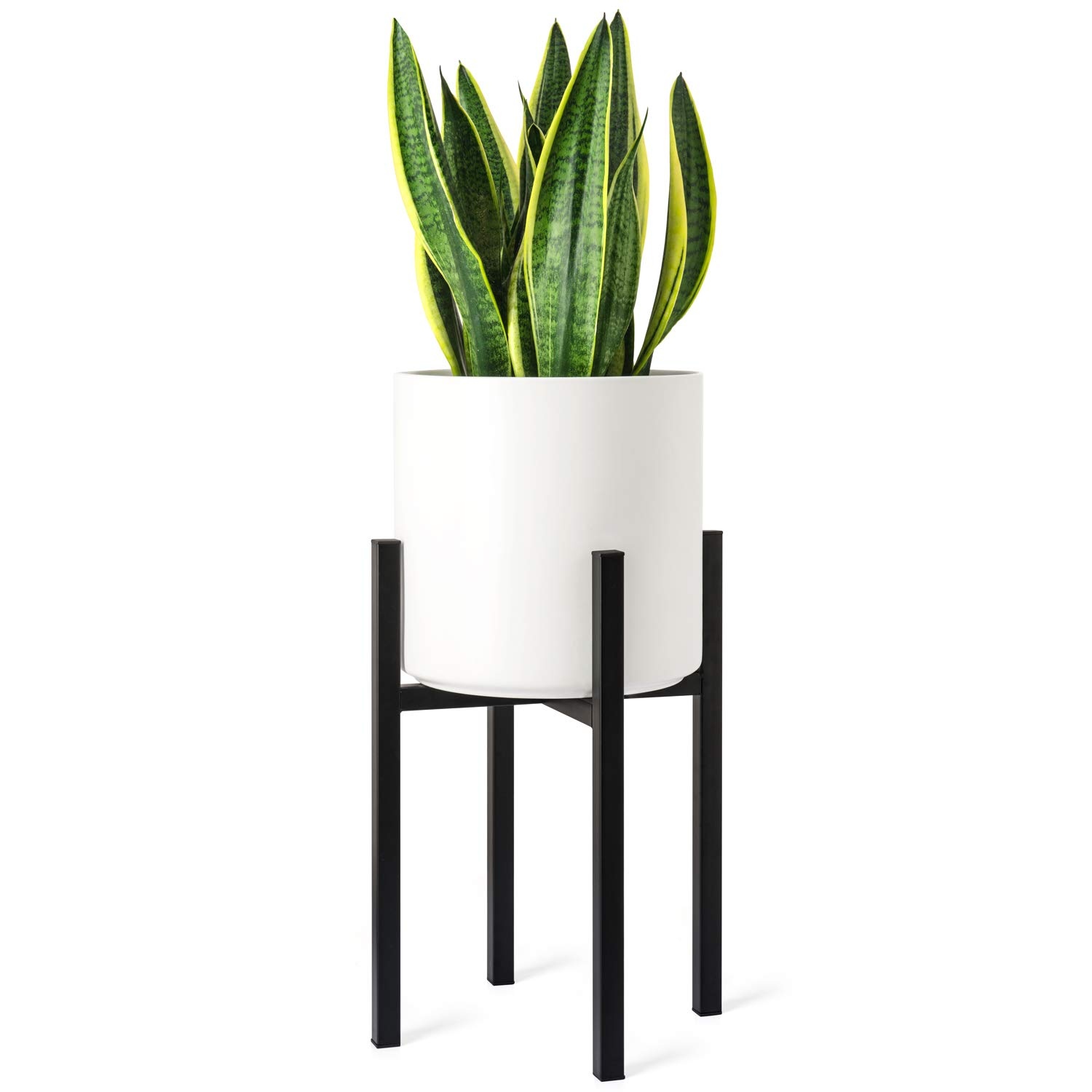 Mkono Plant Stand Mid Century Modern Tall Flower Pot Stands Indoor Outdoor Metal Potted Plant Holder, Plants Display Rack Fits Up to 10 Inch Planter(Planter Not Included) by Mkono