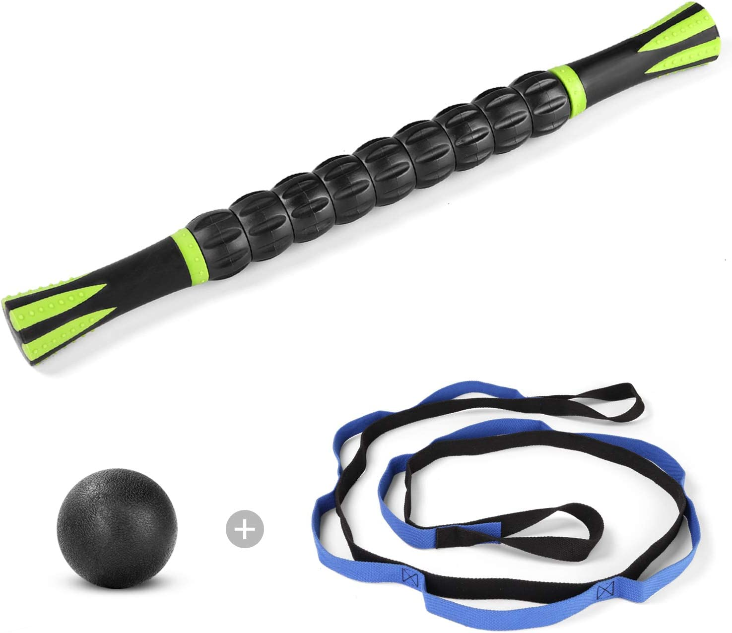 Odoland 45CM Muscle Roller Stick Set with Massage Ball and Stretching Strap Portable Muscle Roller Tools for Muscle Massage Physical Therapy Body Recovery and Office Back Massage