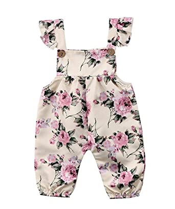 2cd61e56b05 YOUNGER TREE Newborn Toddler Baby Girls Flower Strap Romper Jumpsuit  Playsuit Outfit Clothes (Beige