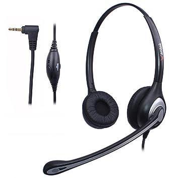 Auriculares 2,5 mm Binaural con Cancelación de Ruido Micrófono y Control de Volumen, WANTEK Cascos Teléfono Fijo Inalámbrico para Polycom Siemens Gigaset ...