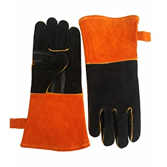 ChengYi - Guantes de piel de vaca resistentes al calor para soldar, guantes de madera