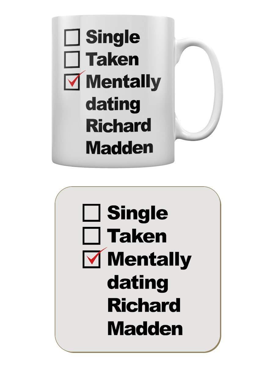 Grindstore Mentally Dating Richard Madden White Mug for Tea or Coffee /& Coaster Set