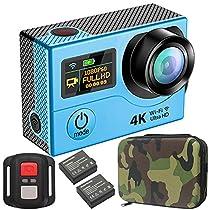 GreatCool Sensor Panasonic Dual-Bildschirm 4K 30FPS Actionkamera Wireless-Fernbedienung Camera Wasserdicht mit 2 Verbesserten Batterien und kostenlose