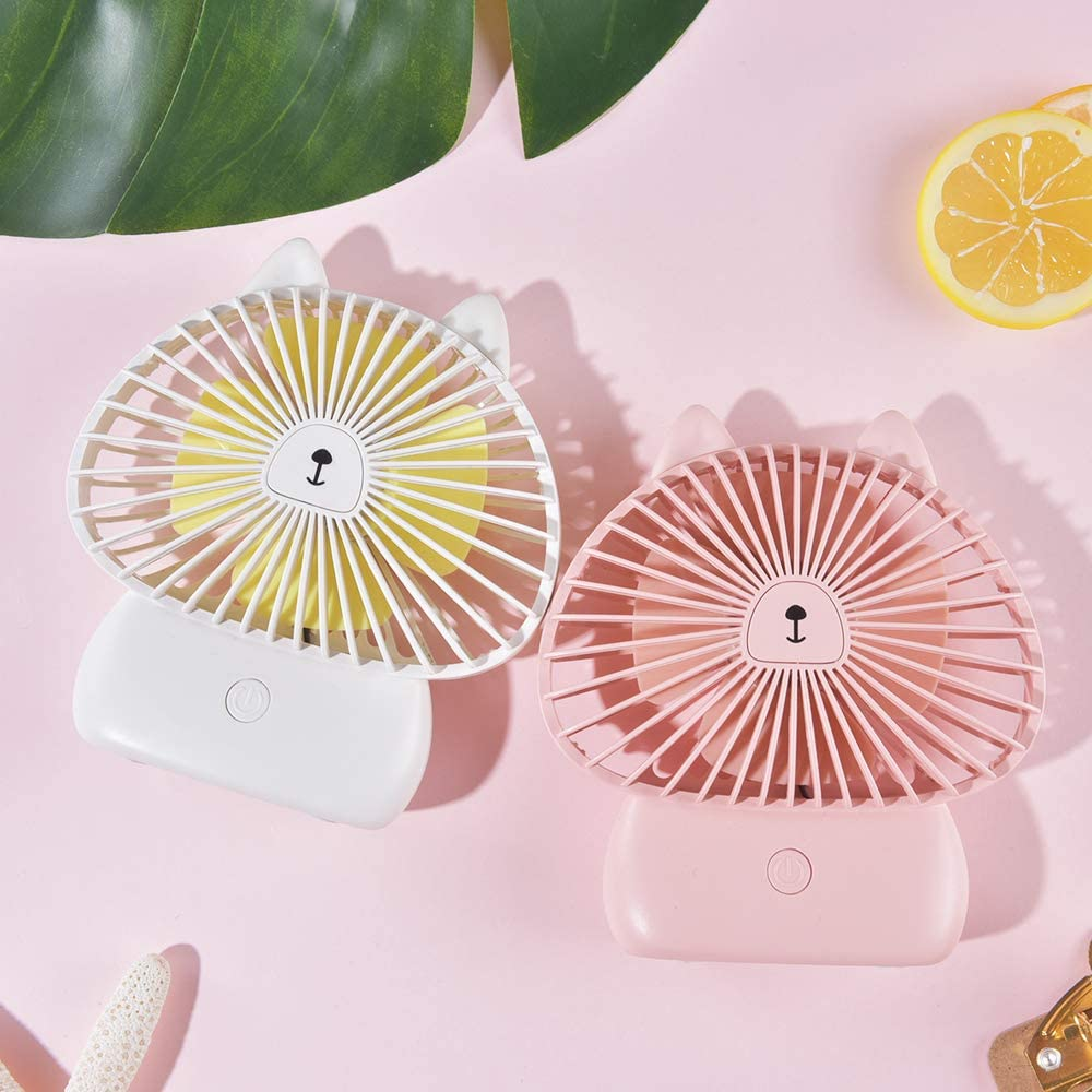 Cute Kitty Pink Handheld /& Portable USB Rechargeable Fan with Colorful LED Light Noise-Free and 3 Adjustable Speeds DecoLife Cute Personal Mini Fan