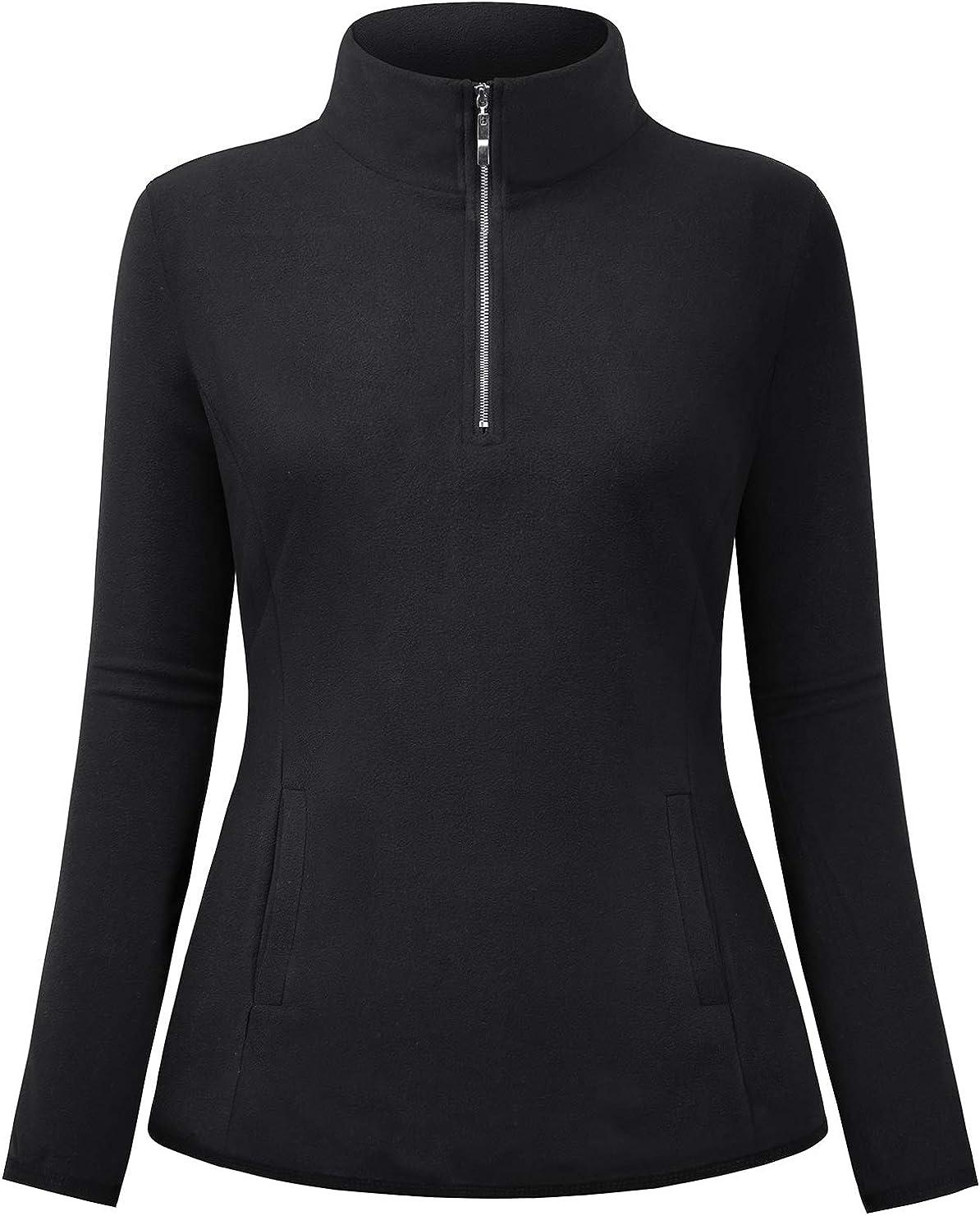 NEWMEEN Womens 1/4 Zip Lightweight Polar Fleece Pullover Sweatshirt with Pockets