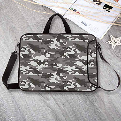 Camouflage Printing Neoprene Laptop Bag,Monochrome Army Attire Pattern Camouflage Inside Vegetation Military Equipment Decorative Laptop Bag for 10 Inch to 17 Inch Laptop,13.8'L x 10.2'W x 0.8'H