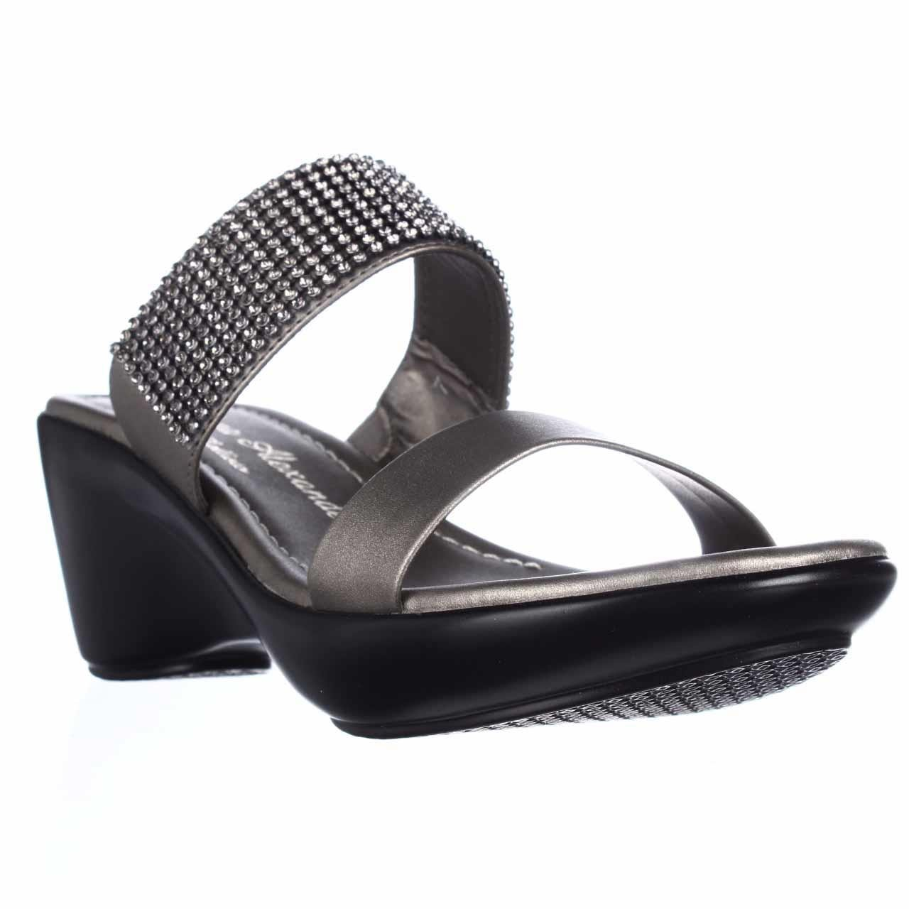 Callisto Womens jezzie Open Toe Casual Mule Sandals B07BC7PJYR 5 B(M) US|Pewter