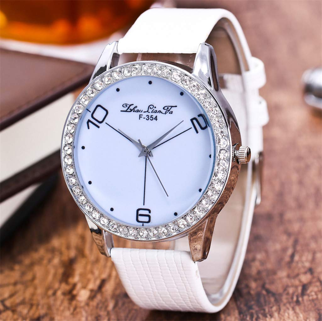 Amazon.com: Reloj de DAMA WoCoo Simple Analog Quartz Rhinestone Dial Wrist Watch with Leather Strap Watches Gifts (White): Kitchen & Dining