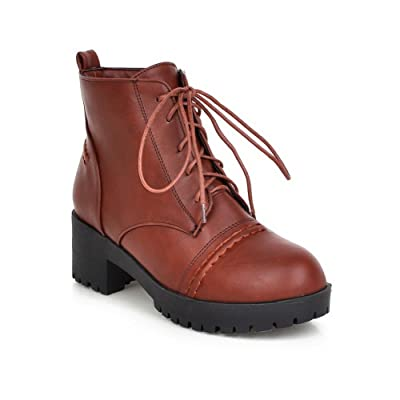 AdeeSu Ladies Lace-Up Low Heels Casual Imitated Leather Boots