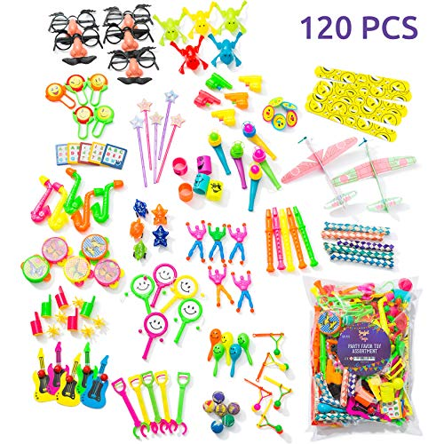 Party Favors For Kids Pack of 120 Pcs Bulk Toys - Birthday Party, Goodie Bag, Piñata Filler, Treasure Box, Reading Prizes