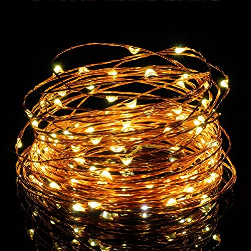 Copper Wire Lights,SOLLA 33ft 100LEDs USB Powered String Lights, Warm White, Flexible Starry String Lights Waterproof Rope Lights for Christmas Wedding Home Indoor Outdoor