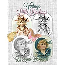 Vintage Little Darlings Grayscale Adult Coloring Book