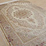 Yilong 6 x9  Handmade Silk Rug Vintage Oriental Kerman Floral Medallion Hand Knotted Floor Carpet (Beige) YL0259