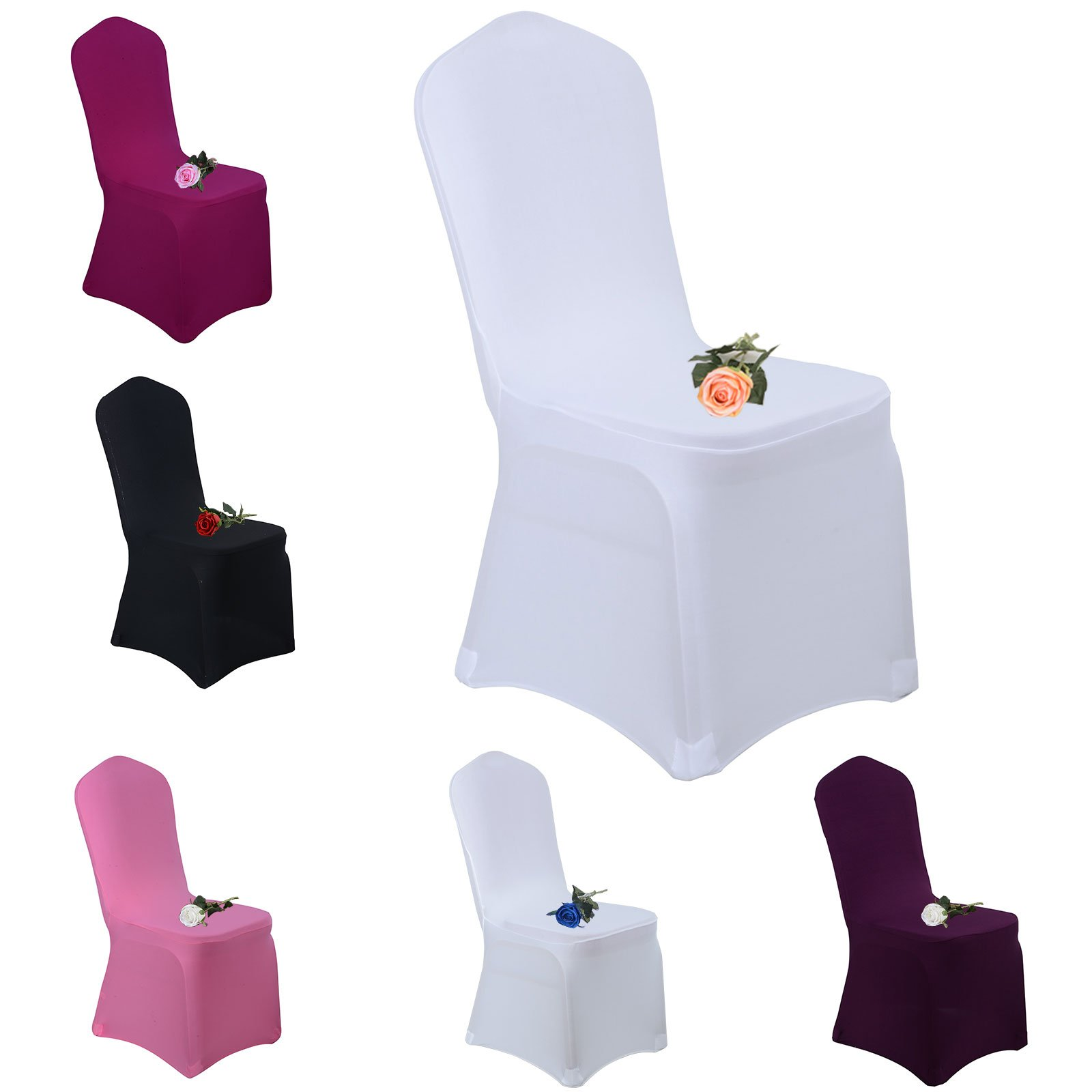 Voilamart Dinning Chair Covers Set of 50pcs Polyester Spandex Stretchable Banquet Chair Slipcover for Wedding Party Dining - White