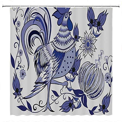 SATVSHOP Creative Home Ideas Textured Shower Curtain with Beaded Rings-Gallos Floral Pattern with Flowers and Birds Feathers Wings Leaf Leav Ornament Folk Art.W108 x L72 inch
