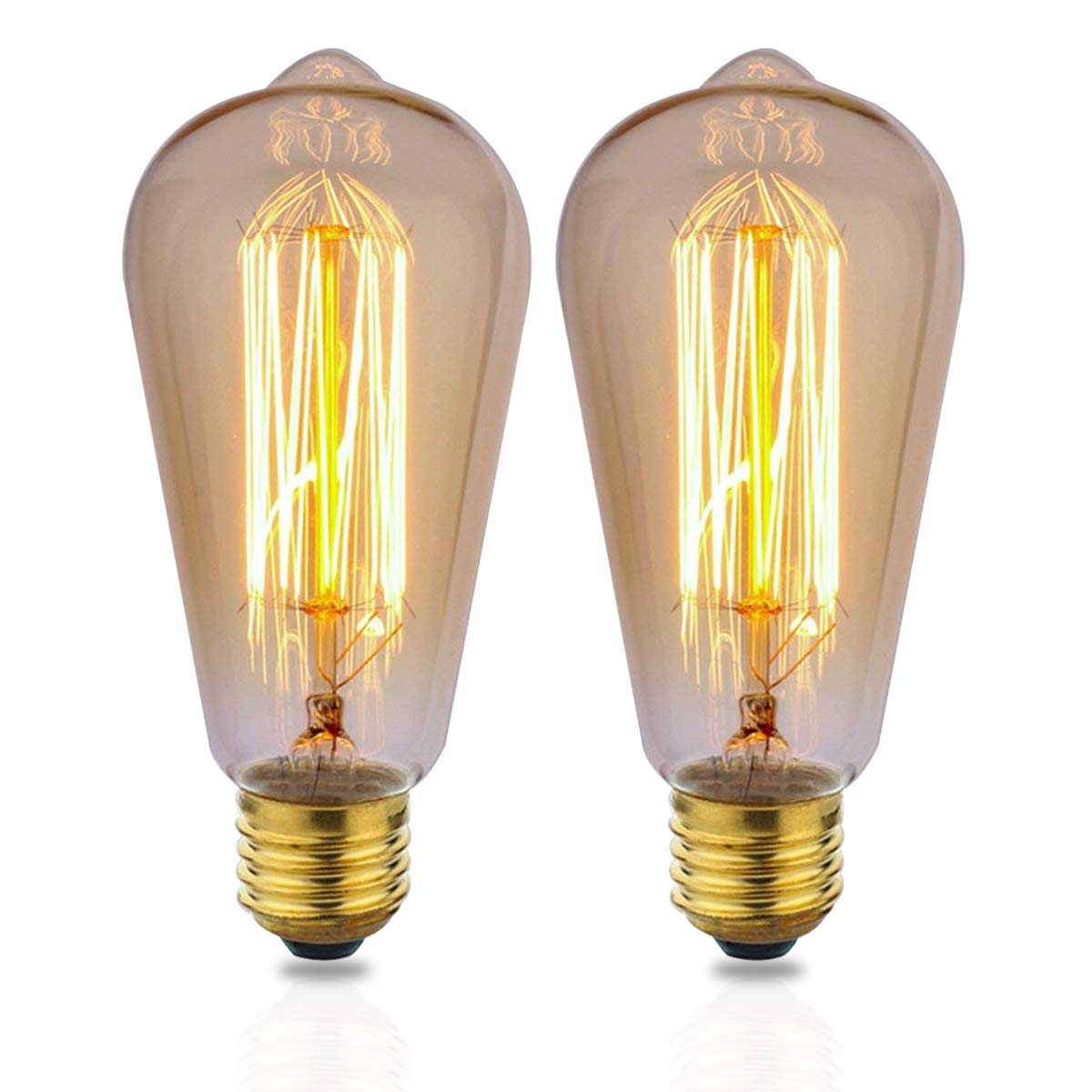 ZOOVQI LED Edison Bulbs 60W E27 Dimmable Vintage Light Bulbs ST64 2200K Warm White Incandescent Bulbs for Home Light Lamp Fixtures (2 Pack)