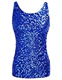 kayamiya Women's 1920S Style Glitter Sequined Vest Tank Tops XS Blue
