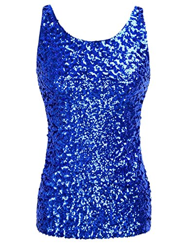 kayamiya Women's 1920S Style Glitter Sequined Vest Tank Tops S Blue